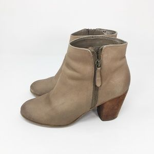 BP Nordstrom Beige Leather Ankle Boots Booties 5.5